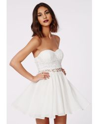Missguided Adi Crochet Bandeau Skater Dress White - Lyst