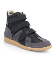 Maison Margiela Triple-Strap Suede High-Top Sneakers - Lyst