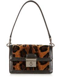 Dolce & Gabbana Rosalia Leopardprint Velvet and Ayers Shoulder Bag - Lyst