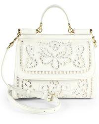 Dolce & Gabbana Sicily Medium Embroidered Top-Handle Satchel white - Lyst