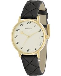 Kate Spade Metro Goldtone Stainless Steel & Quilted Leather Strap Watch/Black gold - Lyst