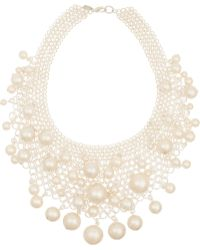Kenneth Jay Lane Silvertone Faux Pearl Necklace - Lyst