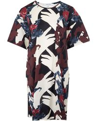 Carven Burgundy Floral Tshirt Dress - Lyst