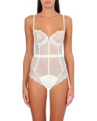 Simone Perele Velvet Lace and Tulle Bodysuit Ivory - Lyst