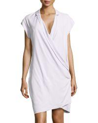 Halston Heritage Draped-front Silk Wrap Dress - Lyst