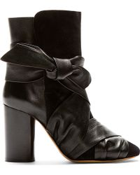 Isabel Marant Black Suede and Leather Wrapped Anzel Ankle Boots - Lyst