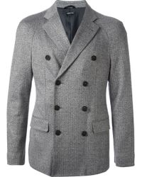 Giorgio Armani Gray Herringbone Jacket - Lyst