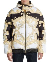Versace Leather Trimmed Hooded Down Jacket multicolor - Lyst