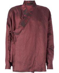 Haider Ackermann Chevron Print Wrap Shirt - Lyst