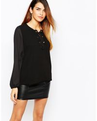 TFNC | Lace Up Top With Blouson Sleeve | Lyst