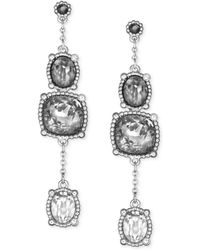 Swarovski Palladium Plated Gray Ombre Crystal Triple Drop Earrings - Lyst