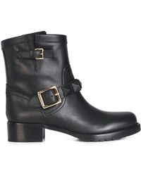 Valentino Buckled Biker Boots - Lyst