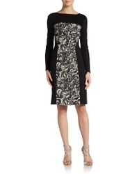 Kay Unger Jacquard Sheath Dress - Lyst