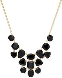 Kate Spade New York Gold-tone Black Stone Statement Necklace - Lyst