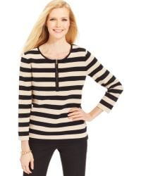 Jones New York Signature Threequartersleeve Striped Top - Lyst