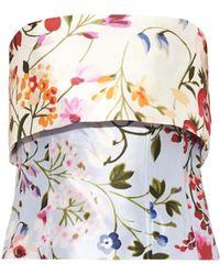 Oscar de la Renta Floral-Print Bustier Top - Lyst