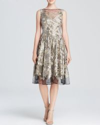 Vera Wang Dress  Sleeveless Metallic Lace Fit and Flare - Lyst