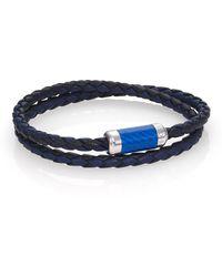 Tateossian Leather, Carbon Fiber & Sterling Silver Bicolor Braided Bracelet blue - Lyst