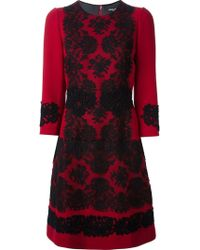 Dolce & Gabbana Lace Accent Crepe Dress - Lyst
