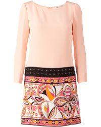 Emilio Pucci Contrast Panel Shift Dress - Lyst