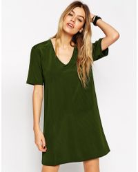 Asos Luxe T-Shirt Dress With V Neck - Lyst