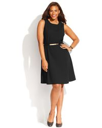 Calvin Klein Plus Size Sleeveless Belted Flared Dress - Lyst