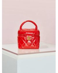 Chanel | Vintage Red Patent Leather Quilted Vanity Bag | Lyst