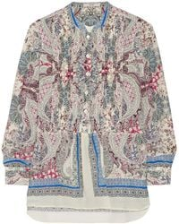 Etro Paisley-Print Cotton And Silk-Blend Blouse - Lyst