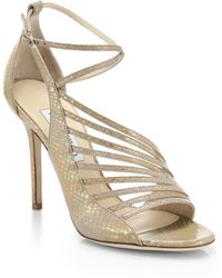 Jimmy Choo Florry Holograph Snakeskin-Embossed Leather Asymmetrical Strappy Sandals - Lyst