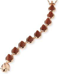 Eddie Borgo Rose Gold Plated Sandstone Cone Bracelet - Lyst