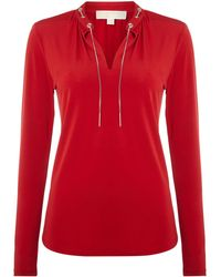 Michael Kors Long Sleeved Top with Chain Neck Detail - Lyst
