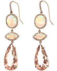 NSR Nina Runsdorf - Diamond, Morganite, Opal & Gold Earrings - Lyst