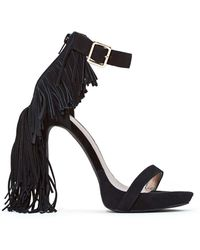 Nasty Gal Jeffrey Campbell Dillon Leather Fringe Heel - Lyst