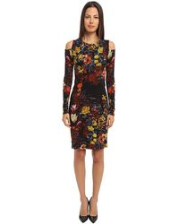 Jean Paul Gaultier Floral Tulle Long Sleeve Cutout Shoulder Dress - Lyst