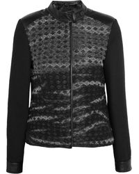 Karl Lagerfeld Bonella Paneled Brushed Wool-blend and Satin Jacket - Lyst