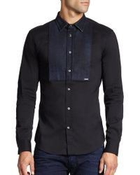 Diesel Denim Panel Sportshirt - Lyst