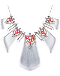 Alexis Bittar Coral Deco Crystal Baguette Bib Necklace - Lyst