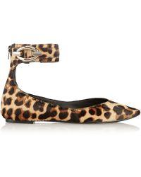 Diane Von Furstenberg Evie Leopard-print Calf Hair Flats - Lyst