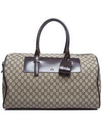 Gucci Pre-owned Beige Monogram Brown Boston Travel Bag - Lyst