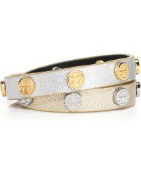 Tory Burch Color-block Double-wrap Logo Stud Bracelet - Lyst