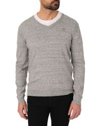 Diesel Benti Flecked Grey V-Neck Jumper - Lyst