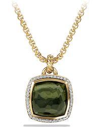 David Yurman Albion Pendant With Diamonds In Gold, 17Mm Gemstone - Lyst