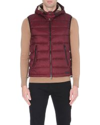 Burberry Moores Downfilled Quilted Gilet Maroon - Lyst