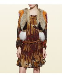 Gucci Patchwork Fur, Leather And Ayers Vest With Embroidery - Lyst