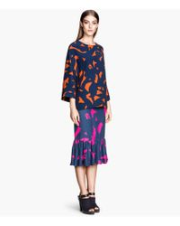 H&M Patterned Frilled Skirt - Lyst