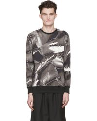 Helmut Lang Grey And Black Aerial Print Sweatshirt - Lyst