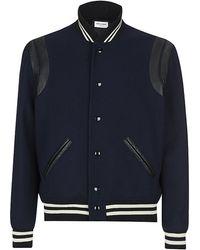 Saint Laurent Leather Trim Varsity Jacket - Lyst