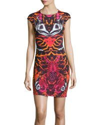 McQ by Alexander McQueen Capsleeve Abstractprint Knit Dress - Lyst