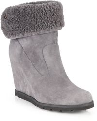 Ugg Kyra Suede & Shearling Wedge Booties gray - Lyst