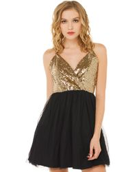 Akira In The Moment Sequin Black Dress - Lyst